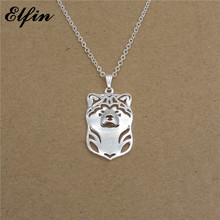 Elfin Wholesale 2017 Trendy Japanese Akita Necklace Gold Color Silver Color Dog Jewellery Pendant Necklace Women steampunk(China)