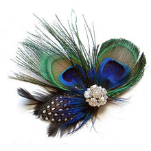 Fashion Peacock Feather Sparkling Rhinestones Bridal Wedding Hair Clip Head Accessory for Women Lady Beauty