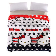 Soft and warm cute hello kitty print Blanket fleece blankets thin can use on bedsheet/sofa Throw Queen King Full twin sizes