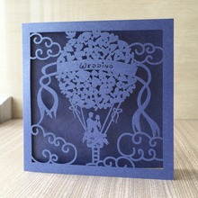Deep blue laser cut 50pc personalized couple fire balloon design wedding invitations cards greeting cards romantic wedding party(China)