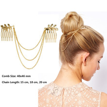 Hot Cheap-fine Vintage Hair Accessories Double Gold Chain With Leaf Comb Head New Headbands For Women Girl Lady Free shipping