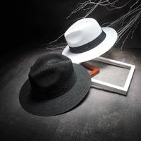 Elegante Preto Jazz Chapéus Para Mulheres Chapéu de Sol Branco Formal Dos  Homens azul Letra M 646a369d519