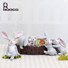 Roogo 4 shape bunny 2017 new arrival resin grey rabbit christmas window ornament decoration children's day gift ideas