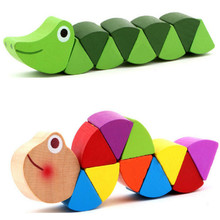 Kids Crocodile Insert Animals Puzzle Toys Wooden Toys Baby Children Fingers Flexible Training Science Twisting Worm Toys