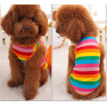 Summer Dog Clothes Vest T-shirt Sun Rainbow Dogs Goods For Pets Colorful Blouses Blouse Men's T Shirts Women Small Stripe Polo(China)