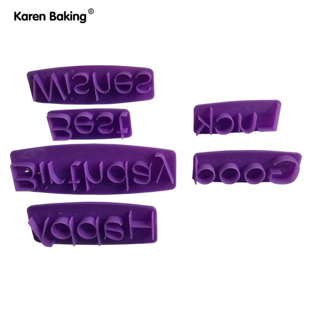 6Pcs Happy Birthday Best Wishes Good Luck Letters Cookie Cutter Cake Decorating Tools For