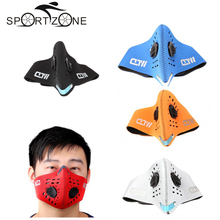 PM2.5 Carbon Protective Filter Face Mask Two Exhale Valves Dustproof Mouth-muffle Outdoor Sports Bike Motorcycle Wind-proof Mask