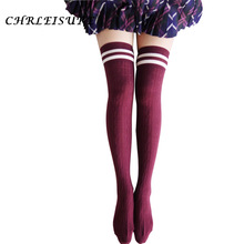 CHRLEISURE 7 Colors Designer Women Over The Knee Socks Thigh High Thick Lovely Girls Princess Knee High Long Socks Puscard