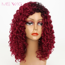 MISS WIG 14Inchs Red Kinky Curly Wigs for Black Women 250g Synthetic Wigs African Hairstyle