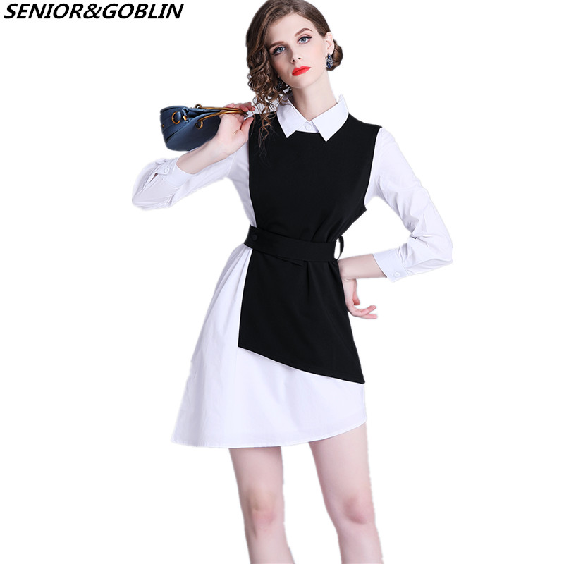 2019 Spring New Women Clothes Two Piece Set White Irregularity Blouse Shirt+Black Vest Dress Plus Size Casual Suits
