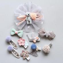 10 Pcs Girls Hairpins Gift Set Kids Bowknot Chiffon Cartoon Hair Clips Pompom Barrettes elastic Rubber hair band Accessories T30