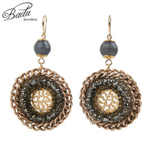 Badu Vintage Round Crochet Earring Handmade Braided Natural Stone Winter Style Retro Jewelry Daily Wear Wholesale(China)