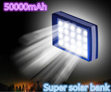 2107 New  50000mAh Solar Power Bank + LED Camping Light Backup Battery Charger Portable Rechargeable for Mobile Phones