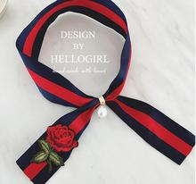 Silk Luxury Brand Carriage Chain Horse Women's Scarf Printed Square Small Sizes Female Scarves striped choker necklace