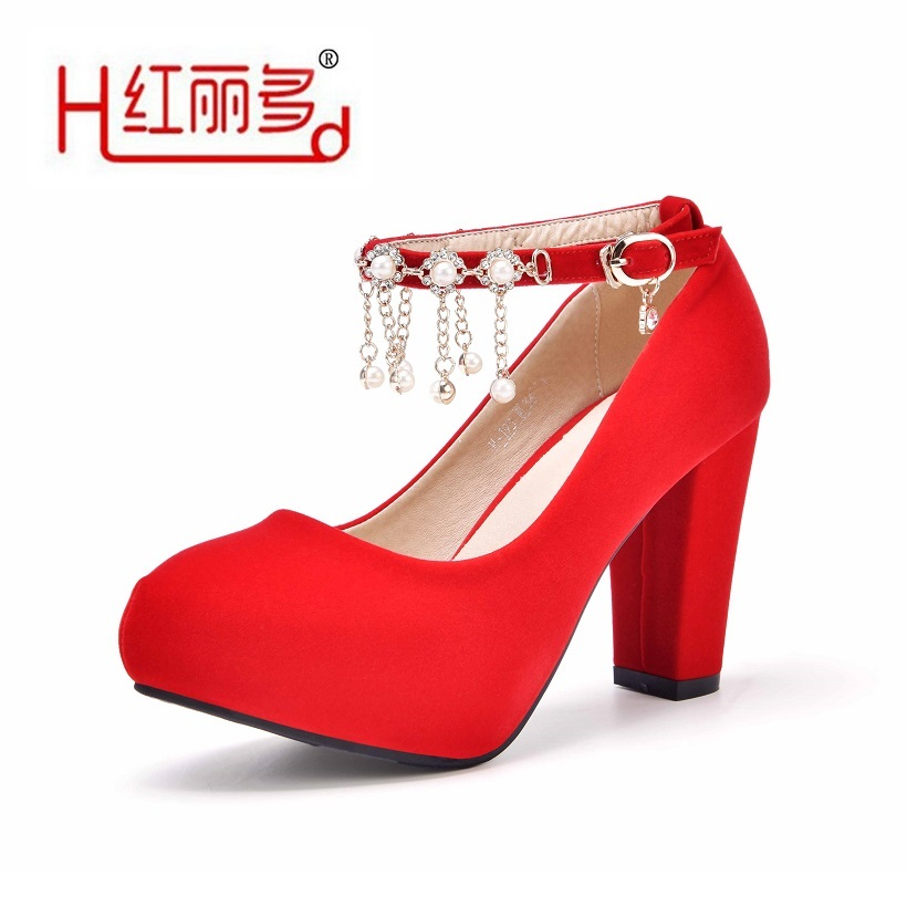 Buy Best women red high thick heels bridal shoes female resistance pump  round bridesmaid shoes ladies high quality Suede PU wedding shoes for Sale