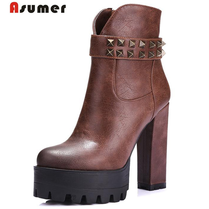 ASUMER High heels boots women zipper round toe ankle boots soft leather spring autumn platform boots fashion punk rivets<br>