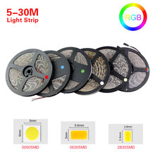 5M - 30M RGB led strip light 5050 5630 2835 led 12v fita led ribbon diode tape for ceiling cabinet christmas holiday decor light