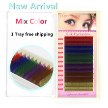New 1 tray mix color(6 colors) individual eyelash extension 12 rows rainbow color beauty makeup false eyelash free shipping