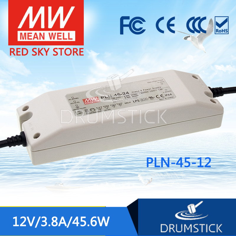 hot-selling MEAN WELL PLN-45-12 12V 3.8A meanwell PLN-45 12V 45.6W Single Output LED Power Supply<br>