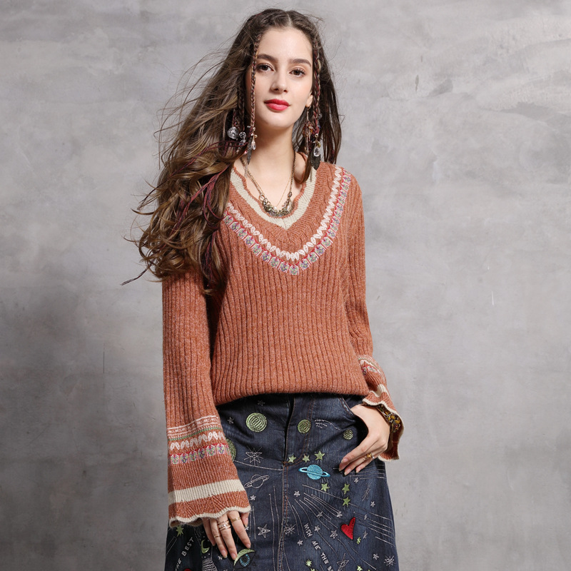 Women Sweater Pullovers tops 2019 Spring Lady Flare Sleeve V-neck embroidery Fashion Knitted Sweaters