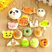 15 Pieces Cute Bread Cake Soft Toy Kawaii Decompression Cartoon Simulation Cellphone Charm Straps Phone Slow Rebounding Pendant