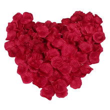 Cheap 100pcs/Pack Dark Red Fake Rose Petal Artificial Flowers Wedding Decoration Flores Artificiales Flower Decoration GF218(China)