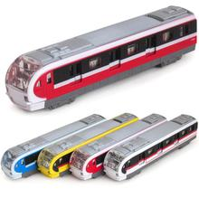 Free Shipping Electronic Musical And Light Metro Subway Train Pull back Model Diecast Toy Vehicle Models Collection Best Gift