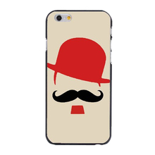 Cartoon Cute Red Hat Mustache Beard Style Plastic Hard Cover Case Skin for iphone 4/4s/5/5s/5c/6/6s/6plus/6s plus
