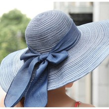 Factory Price, 7 Colors Women's Summer Wide Brim Floppy Bowknot Hat Lady Travelling Sun Hat(China)