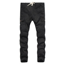 Brand Male New Fashion 2017 Slim Cotton Shredded Shirt Side Bag Wrinkle Pants Casual Pants Man Trousers Designer Mens Joggers(China)