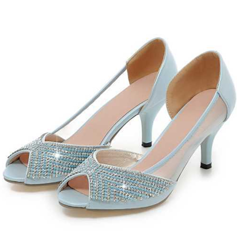 2015 Fashion Crystal Thin High Heels Summer Pumps Peep Toe Shoes Women Slip-On Party Casual Shoes Women Pumps 3 Colors<br><br>Aliexpress