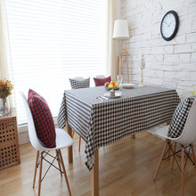 Classic black and white Plaid TableCloth set linen&cotton dining table cloth runner cushion cover Christmas home cafe decor red