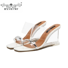 2017 Summer New Transparent Slope With Glass Plastic Slippers Sweet Fashion Solid Wedges Slip-On Women Sandals Female Shoes