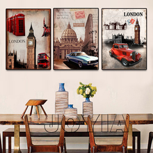 Triptych Painting Wall Art London Style Decorative Canvas Prints Landscape Street and Car Pictures Home Vintage Decor No Frame