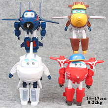 NEW hot 4pcs/set 14-17cm Superwings Super Wings deformation robot Jett action figure toy collectors Christmas gift doll