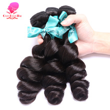 QUEEN BEAUTY HAIR Peruvian Loose Wave Virgin Hair Weaving 1 Piece Natural Color 100% Unprocessed Human Hair Bundle Free Shipping