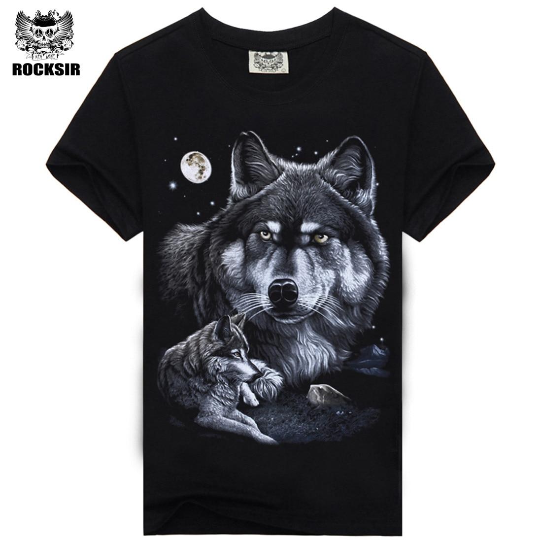 Rocksir 3d wolf t shirt mens Brand 3D Indians wolf Print t shirts Cotton wolves Men t-shirt Casual Man Tees Mens Tops 11