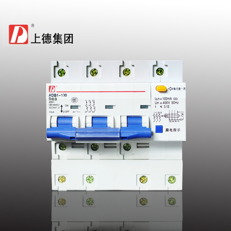 Group on four lines breakers GFCI protector/DZ47LE-100 3P+N 80A type<br>