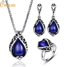 Vintage Silver Color Jewellery Ethnic Resin Big Blue Water Drop Pendant Necklace Earrings Ring Set ly30
