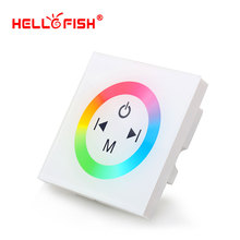 White Glass Touch Panel RGB Full Color LED Controller DC12V -24V 4 Channel For LED Strip Home Lights Wall Washer(China)