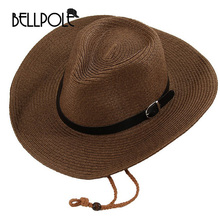 2017 New Arrival Mens Hats Sunscreen Male Summer Folding Cowboy Sunbonnet Beach Hat Large Brim Strawhat Women Chapeau Femme(China)