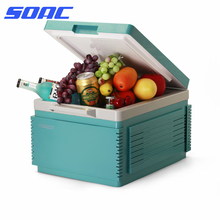 SOAC Electric Mini Fridge Cooler and Warmer (12 Liter ) Built-in Battery : AC/DC Portable Thermoelectric System (Cyan Blue)