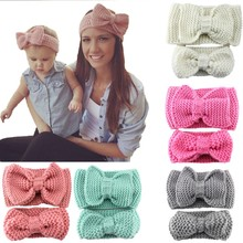 Hand-knitted crochet wool headband solid color soft and comfortable knit bow headband paternity wholesale hair accessories(China)