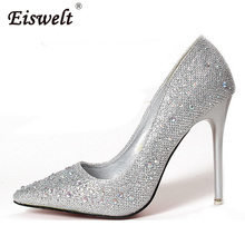 EISWELT New 2017 Sexy Black Gold High Heels Shoes Fashion Luxury Rhinestone Wedding Party Shoes Women Elegent Pumps#ZQS042