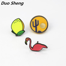 Japan and South Korea popular flamingos cactus collar button brooch pins badge clothes  Europe and the United States