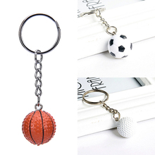 YITING New 1Pcs Football Basketball Golf ball Pendant Keyring Sports metal Keychain Car Key Chain Key Ring wholesale 3 Styles(China)