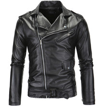 2018 Outono Inverno Sólidos Casual Faux Leather Jacket Manga Comprida Turn Down Collar Magro Zipper Pu de Couro Jaquetas Homens GD918(China)