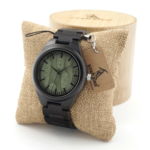 BOBO BIRD Mens Black Ebony Wooden Watch Green Wood Dial Wood Links Causal Wood Quartz Wrist Watch for Men in Gift Box