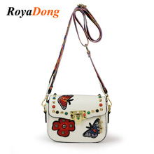 RoyaDong 2017 Women Shoulder Bags Flap Pu Leather Crossbody Bags For Girls Candy Color Handbags Ribbon Rivet Mini Messenger Bag