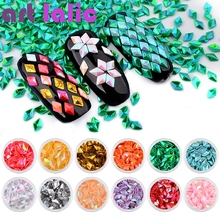 Artlalic 12pcs/set DIY Colorful Laser Rhombus Solid Nail Decorations Glitter 12 Colors Sequins Nail jewelry Accessories Hot Sale